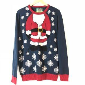 Ugly Christmas Sweater Light-Up Santa & Snowflakes